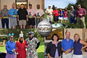 A collage of photos from the golf tournament, all featuring people smiling together in groups